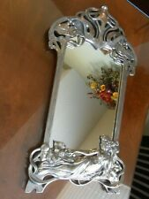 Art Nouveau Mirror Picture Frame Reclining Maiden Woman Metal Relief WMF Style