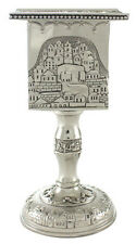 JUDAICA NICKEL PLATED HAVDALAH CANDLE HOLDER STICK JERUSALEM VIEW