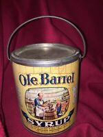 Vintage Syrup Tin Can Ole Barrel Handle Orig Label Advertise General Store EMPTY