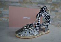 MIU By Prada Size 36,5 Sandals Espadrilles Shoes Chrome New Previously