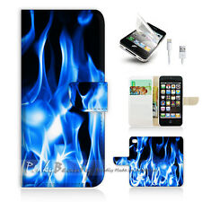 ( For iPhone 5 / 5S / SE ) Wallet Case Cover! Blue Flame P0203