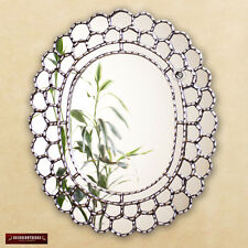 "Decorative Silver Oval Wall Mirror 23.6""- Peruvian Accent Mirror for Wall decor"
