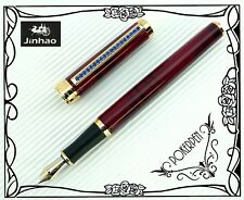 FREE SHIP F5 JINHAO Fountain Pen Red marble + 5pcs  POKY cartridges Blue ink