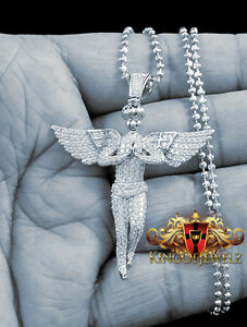 REAL SOLID STERLING SILVER WHITE GOLD FINISH MINI ANGEL CHARM PENDANT CHAIN SET