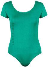 Womens Short Sleeve Stretch Bodysuit Ladies Leotard Body Top Tshirt