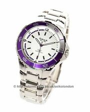 Omax Gents Divers Style 50M White Dial Watch, Silver Finish, Seiko (Japan) Movt.