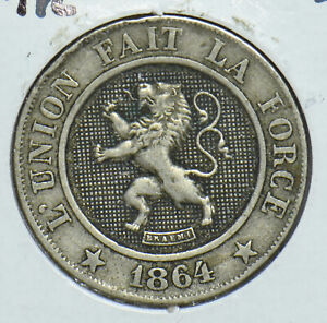 Belgium 1864 10 Centimes Lion animal 291845 combine shipping