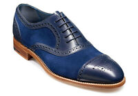 Handmade Men's Blue Leather and Suede Two Tone Brogues Dress/Formal Oxford Shoes