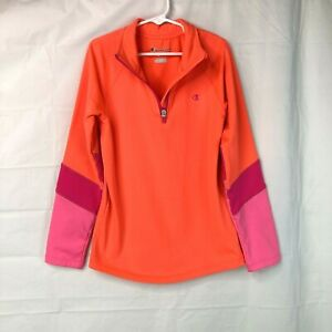 Champion Girls 1/4 Zip Jacket Size Medium NEON BRIGHT Fleece Lined Pullover