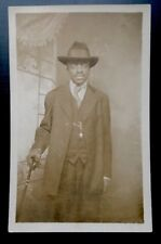 Antique African American Male Fine RPPC Real Photo Postcard Old Black Americana