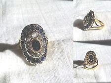 Anello Antico in Oro 18 Kt , Argento, Zaffiri  e Diamanti Rose Coronè