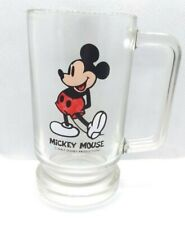 New ListingVintage Walt Disney Productions Mickey Mouse Heavy Clear Glass Mug Cup Stein