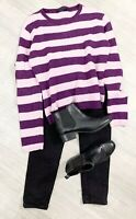 ladies Boden Jumper stripe Size M Purple Mix Long Sleeve Warm 100% Pure New Wool