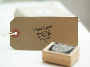 Personalised Wedding Favours names ' Thank you ' rubber stamp