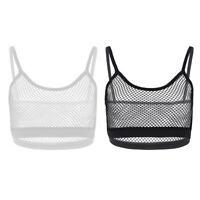 Womens Mesh Sheer Crop Tank Tops See Through Tee T Shirt Bra Vest Blouse Cami
