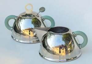 Early Michael Graves Target Alessi Stainless Creamer Sugar Bowl Set Match TEAPOT