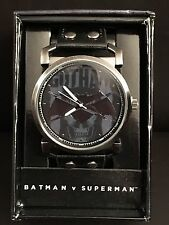 DC Comics Gotham Batman v Superman Analog Watch with Black Leather Band NEW