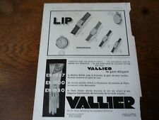 LIP montre 38 + gant VALLIER publicité papier ILLUSTRATION 1930