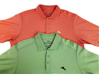 Lot of 2 Tommy Bahama Men's Polo Shirts Pima Cotton in Orange and Green Sz Small