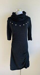 Karen Millen Bodycon Stretch Pencil Dress size 3 AU 10 12 Wool Blend Mock Neck