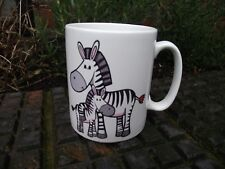 "Ceramic Mug Happy Zebras Mother & Baby Zebra Foal Love Hearts "" Sit and Stay """