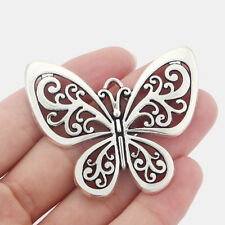 5 Large Tibetan Silver Tone Butterfly Charms Pendants 58mm For Jewellery Making
