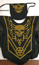 Kids Ninja Halloween Tunic Size Large 10-12 Arm Covers Mask Black Gold Skull