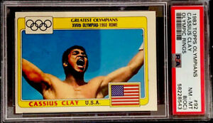 Cassius Clay / Muhammed Ali 1983 Topps Olympians Black Olympic Rings #92 PSA 8