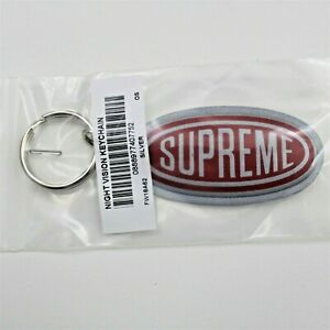 Supreme Night Vision Keychain Reflective Silver Red Logo FW18