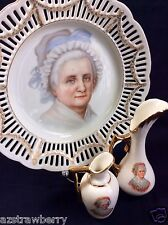 VTG RW BAVARIA Porcelain lot of 3 Martha Washington pierced plate mini pitchers