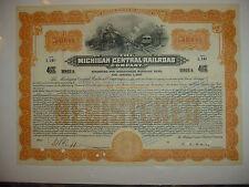 $50,000 Michigan Central Railroad Company Bond Stock Certificate