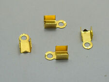 500 Golden Plated Necklace/Cord Crimp End Caps with Loop 4X8mm