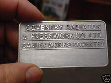 Coventry Radiator Canley Works British Car Data Plate Acid Etched