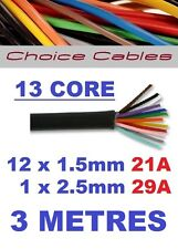 13 CORE AUTO CABLE 3M 1.5mm 21 AMP CAR BOAT LOOM WIRE 3 METRE THINWALL 1.5MM  3M