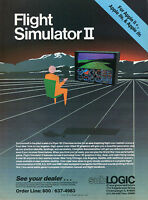 1986 PRINT AD of subLOGIC Flight Simulator II for Apple II+ IIe & IIc