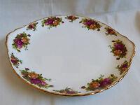 Royal Albert England Bone China Old Country Roses cake serving plate dish handle