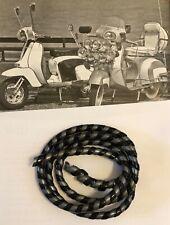 NOS RARE BLACK GREY Candy Stripe Cable Wrap Scooter Vespa Lambretta Vigano Ulma