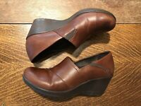 Dansko Women's Slip On Brown Leather Rosealine Wedge Shoes Clog Size 40 Work