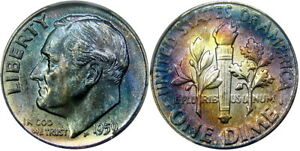 1959 10C PCGS MS66FB ROOSEVELT ~ GORGEOUS IRIDESCENT COLOR!