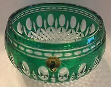 "WATERFORD CRYSTAL CLARENDON EMERALD GREEN 6"" ROUND BOWL PERFECT"