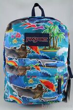JANSPORT SUPERBREAK MULTI WET SLOTH SHARK BLUE BACKPACK SCHOOL BAG AUTHENTIC NEW
