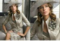 John Charles 25463 Taupe silk Midi Wedding Occasion Dress And Jacket UK 10 38