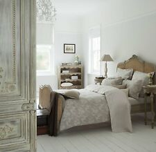 $298 CHRISTY England Shadow Rose QUEEN DUVET SHAMS Natural Cotton Linen Jacquard