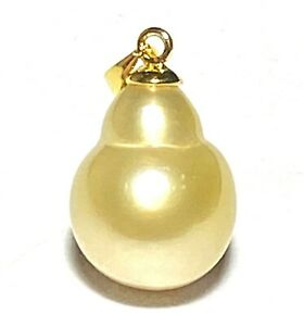 Special Baroque 12.4 x 14.6mm Natural Gold Australian South Sea Pearl Pendant