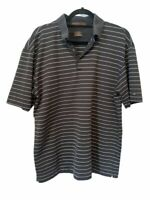 Nike Dri Fit Tiger Woods Mens Golf Polo Shirt Black Stripe Short Sleeve Top L