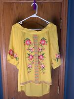 Umgee Large Women's Blouse - Yellow w/ Embroided Pink Flowers