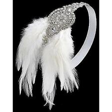 BABEYOND 1920s Flapper Headband 20s Great Gatsby Headpiece White Feather