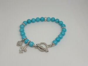 Judith Ripka 925 Silver Turquoise Beaded Toggle Bracelet with charms