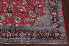 Excellent Floral Red Sarouk Medallion Area Rug Hand-made Living Room Wool 10x13