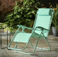 2x Reclining Sun Lounger Garden Folding Zero Gravity Outdoor Chair Adjustable UK
